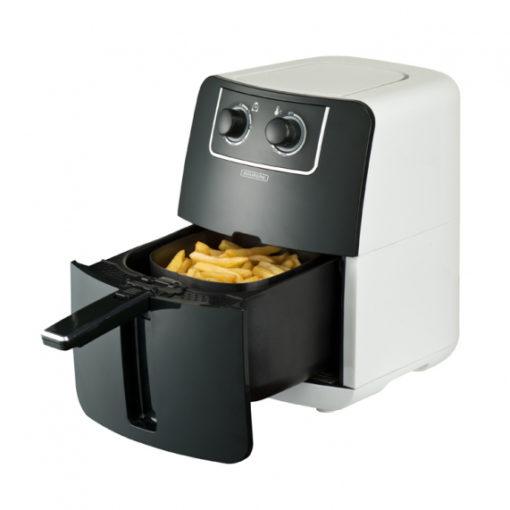 De BOURGINI Health Fryer 0.8 KG is een friteuse en hete lucht oven in één. Deze multifunctionele Health Fryer werkt met hete lucht en zonder olie, dus is gezond (tot 65% minder vet)! Het is geschikt om snel en gemakkelijk te bakken, maar ook om vrijwel geurloos te frituren, grillen en braden. Het wordt geleverd met een mandje voor onder andere frites, snacks, groente, vlees, vis en brood. De losse onderdelen kunnen in de vaatwasser gereinigd worden. BOURGINI wenst u veel bakplezier!
